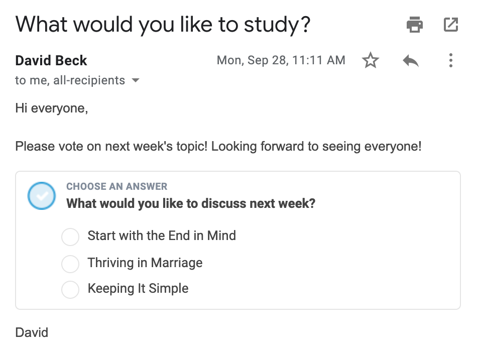 Ask for bible study topic poll in email screenshot