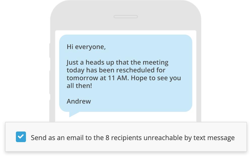 Screenshot of text message