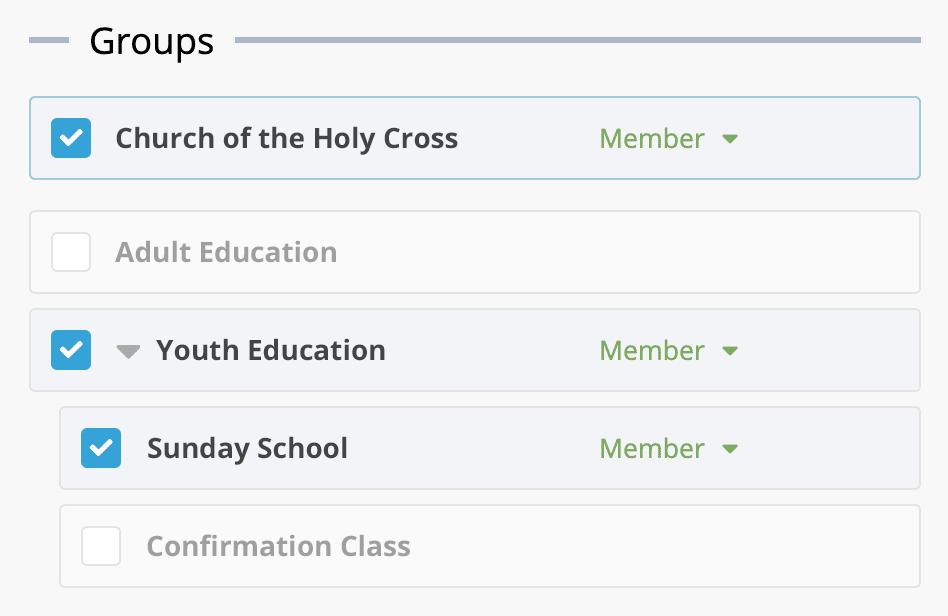 All groups in a church screenshot