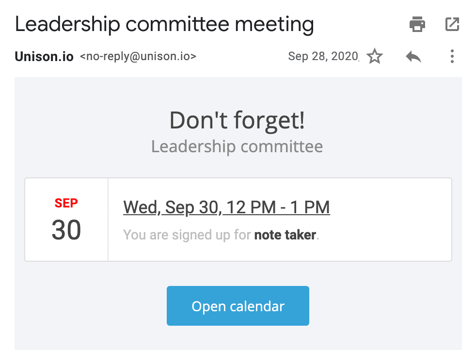 An email reminder for an event