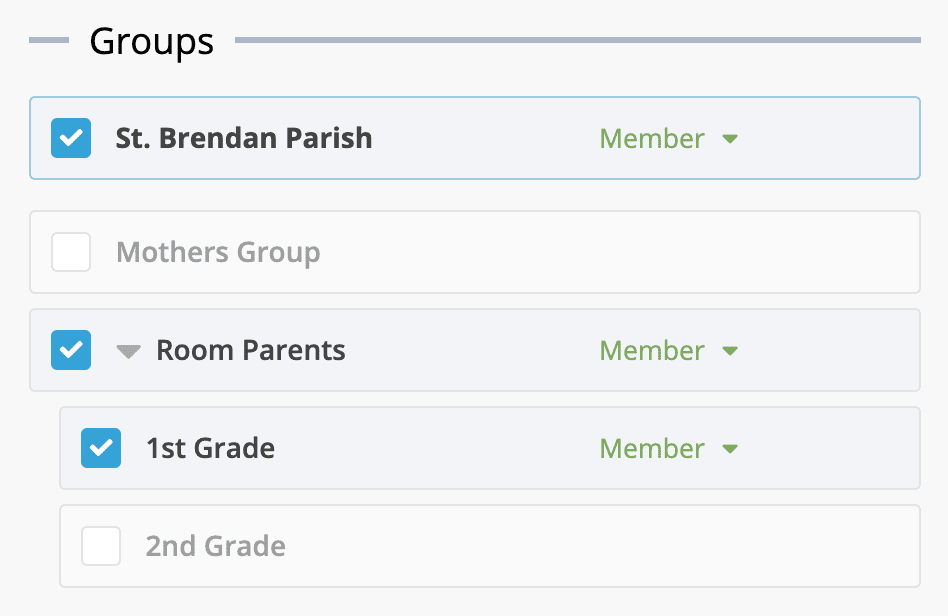 Groups and sub-groups list screenshot