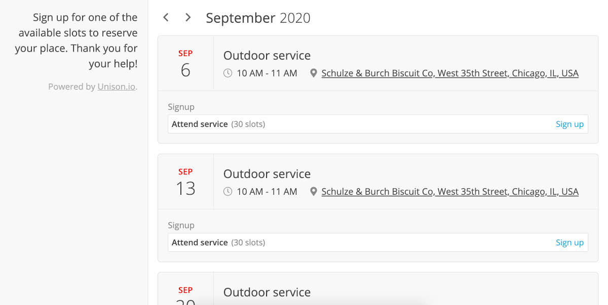 A screenshot of a group's Public Calendar