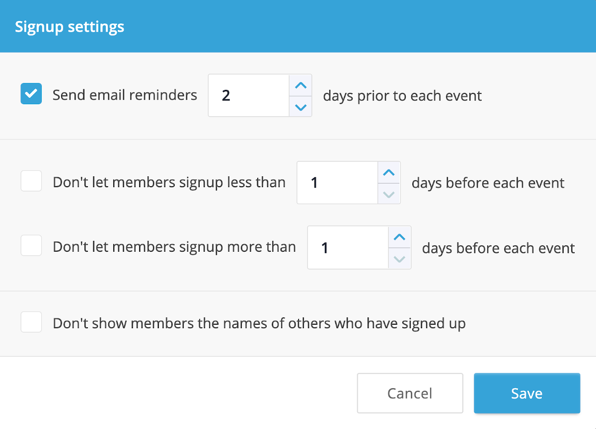 A screenshot of the Calendar Signup Settings dialog