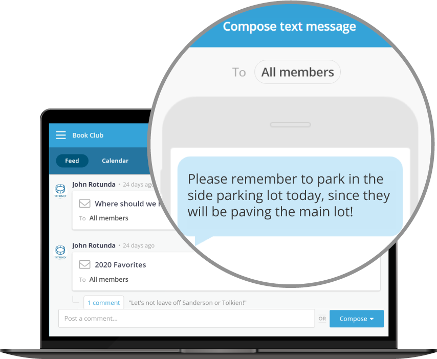 Screenshots of the app feed and compose text message dialog